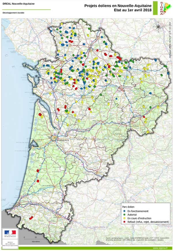 Map of turbines in Nouvelle Aquitaine
